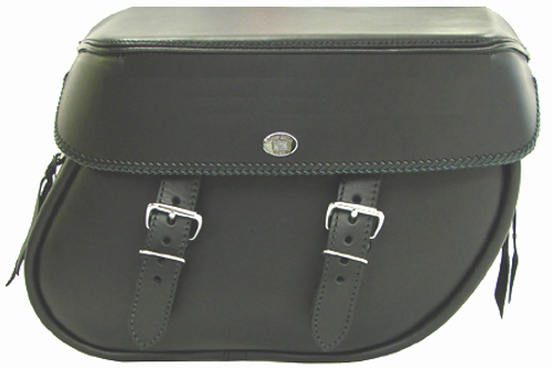 Boss Bags Close Fitting #40 Model Plain Style with Braided Lid Valence for Softail Models