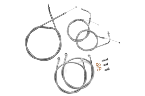 "Baron Stainless Handlebar Cable & Line Kit for V-Star 1300  '07-12 -18""-20"" Bars"