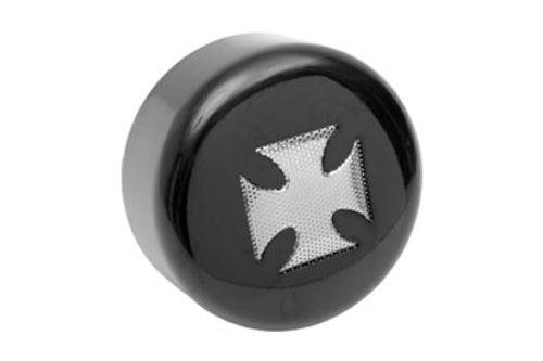 Drag Specialties Horn Cover for most '91-Up Big Twin & XL Models -Black w/ Chrome Cross Insert