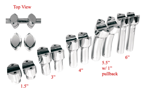 """Drag Specialties 1-1/2"""" Big Buffalo Risers for Certain Metric Bikes 5.5"""" Tall w/ 1"""" Pullback for use 1-1/2"""" Big Buffalo Handlebars (Sold Separately)"""