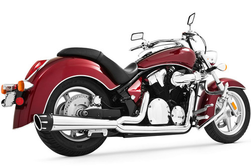 Freedom Performance Combat Outlaws 2-Into-1 Exhaust for '10-Up Fury/Sabre/Stateline 1300 -Chrome w/ Chrome Tip (Shown w/ Black Tip)