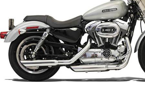 Bassani Firepower Series Slip-On Mufflers for '04-13 XL Models -Slash-down