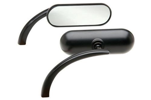 Arlen Ness  Mini Oval Mirror in Flat Black  -Left Side Only