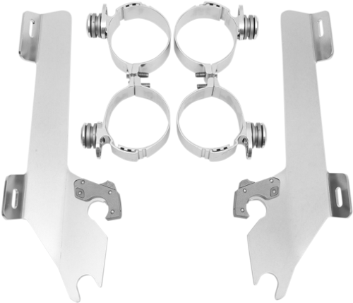 Memphis  Shades  Batwing Windshield Mounting Kit for VTX1800 w/ covered forks   '02-08-Polished FAIRING AND WINDSHIELD NOT INCLUDED