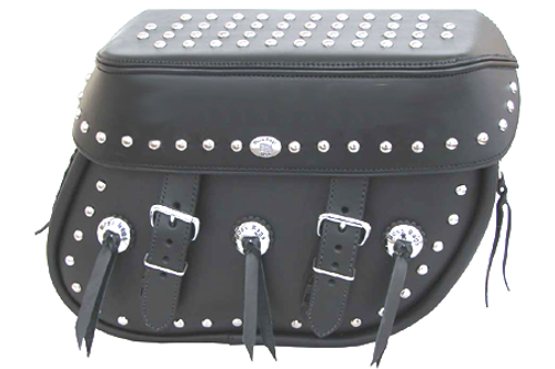 Boss Bags #38 Model  Studded on Lid Valence, Body and Top w/ Conchos on Body for Harley Models