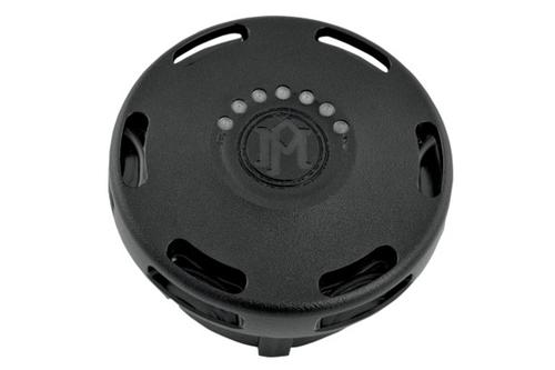 Performance Machine Replacement Fuel Gauge Cap w/ LED Fuel Light for L96-13 H-D Models -Apex, Black Ops