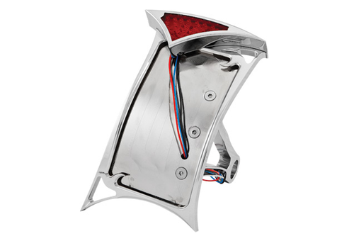 Hard Drive License Plate Frame for '86-03 Softail Models Vertical, Curved-Side Mount -Slayer LED