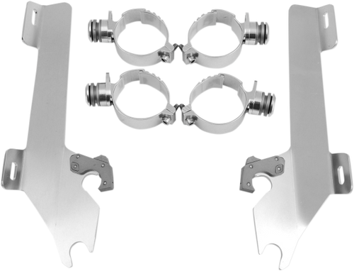 Memphis  Shades  Batwing Windshield Mounting Kit for Mean Streak '04-08-Polished FAIRING AND WINDSHIELD NOT INCLUDED