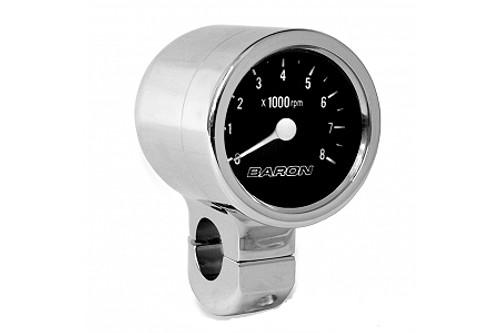 Baron Custom Bullet Tachometers w/ a Black Face for 1 inch  Handlebars