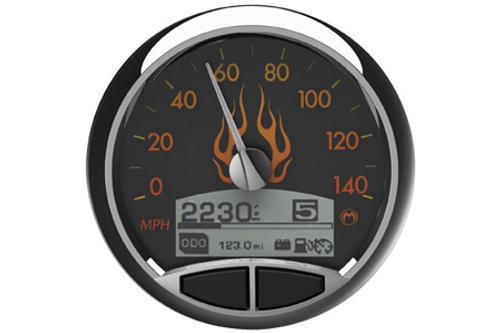 Medallion Premium 5 Inch Console Gauge  Kits for '96-03 FLST/FLHR -Flames