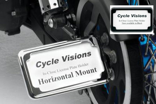 Cycle Visions In Close License Plate Holder for '86-04 XL -Black Powder-Coat, Horizontal with Plate Light