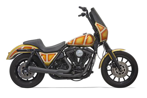 Bassani Exhaust Road Rage 2-Into-1 System for '84-94, '99-00 FXR without Floorboards -Black, Short Megaphone