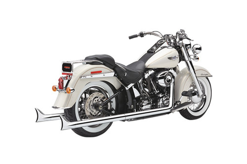 Cobra Bad Hombre Dual Exhaust System with Fishtail Tips for '12-17 Softail FLST/FXST Models - Chrome