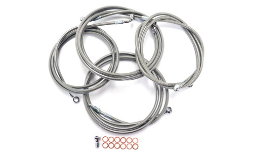 """L.A. Choppers Cable Kit for '13 CVO, '14 FLHTCU/FLHTK/FLHX/FLHXS  (WITH ABS) for use with 15""""-17""""  Ape Hangers -Stainless Braided"""