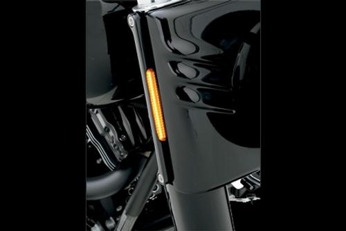 Alloy Art LED Front Signal Lights for Harley Davidson FLHR '94-14 -w/ Smoked lens/Amber LEDs, Black anodized