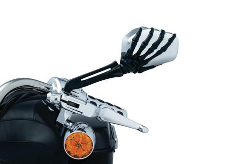 Kuryakyn Skeleton Hand Mirrors - Chrome Head  with Black Stem (Pair)