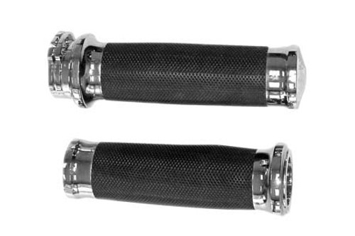 Biker's Choice Tornado Grips for H-D Dual Cable w/ 1 Inch Handlebars Chrome