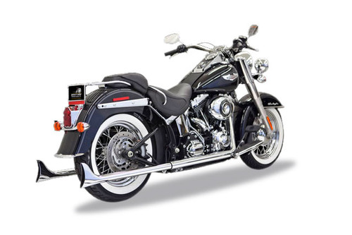 "Bassani True Dual Fishtail Exhaust System for '07-17 Softail 30""/33""/36"" 2-1/4"" Mufflers - Chrome With Baffles"