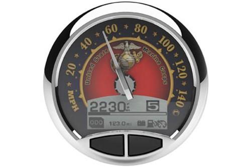 Medallion Premium 5 Inch Console Gauge  Kits for '04-12 FLST/FLHR/FXD (Except '11-12 FLST; '12 FXD) -USMC