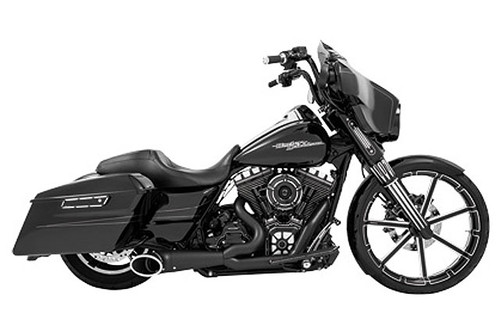 Freedom Performance  2-into-1 Turn Out Exhaust System Exhaust System for '95-16 Harley-Davidson FLH/FLT - Black w/ Black Tip