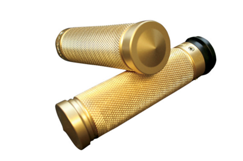 Accutronix  Custom Grips for '08-Up  FLHT,FLHR,FLHX & H-D Trikes -Knurled, Brass