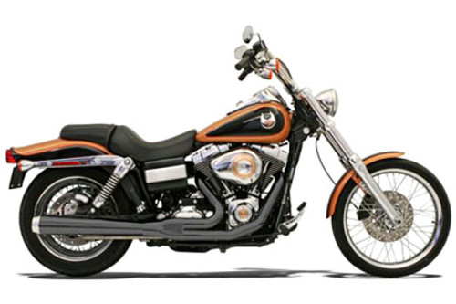 Bassani Road Rage 2-Into-1 System for FXD, FXDWG  '06-13 W/ Forward or Mid Controls Black, Long w/ Heat Shields