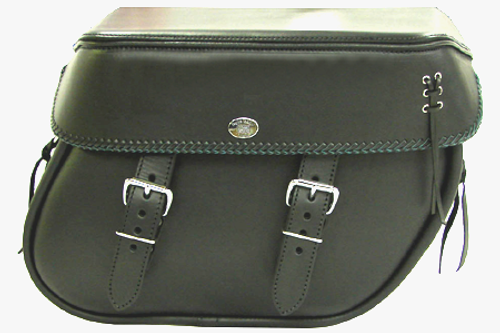Boss Bags  Close Fitting #40 Model  Braided Lid Valence with  Laced Leather on Lid Corner for Softaill Models