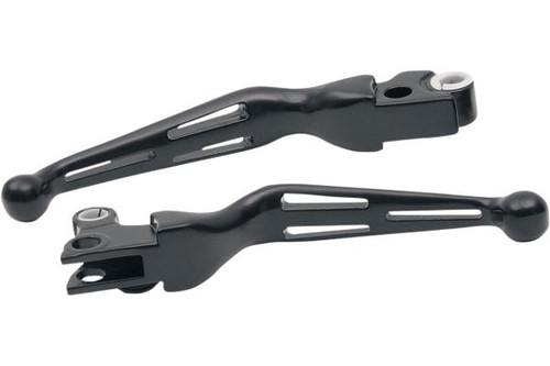 Drag Specialties  Slotted Wide Blade Lever Sets  for '08-13 FLHT/FLHR/FLTR/FLHX & H-D FL Trike  -Black (Pair)