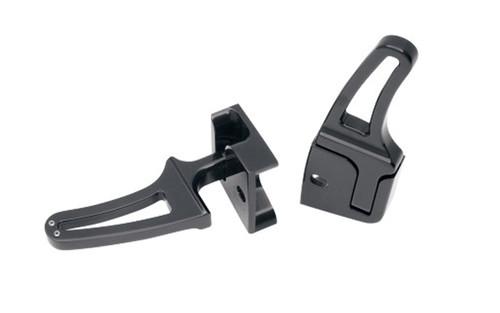 Alloy Art Rear Folding Flush-Mount Footpegs for FXST/FLST Wide Tire Swingarms (except w/ Shotgun Exhaust) -Black Powder-Coated