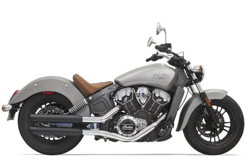 Bassani  3 inch Black Slip On Muffler with Black Slash Cut End Cap  for '15-Up Indian Scout