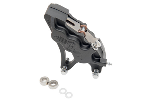 """Performance Machine Six-Piston Front Calipers for Certain H-D Models Starting in '00 for use with 13"""" Rotors (112 x 6B calipers) -Black Ops, Right Caliper"""