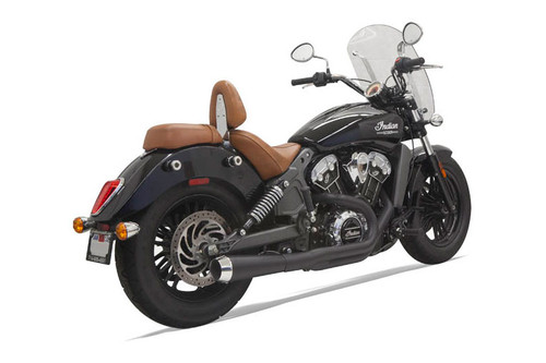 Bassani 2-into-1 Long Megaphone Exhaust for '15-Up Indian Scout Black