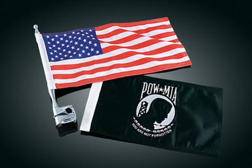 "Kuryakyn Vertical Mount Flags American Flag & POW Fits 1/2"" Bars"
