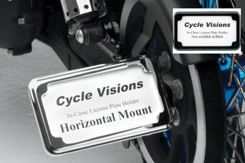 Cycle Visions In Close License Plate Holder for '86-07 FXST/FLST -Black Powder-Coat, Horizontal with Plate Light