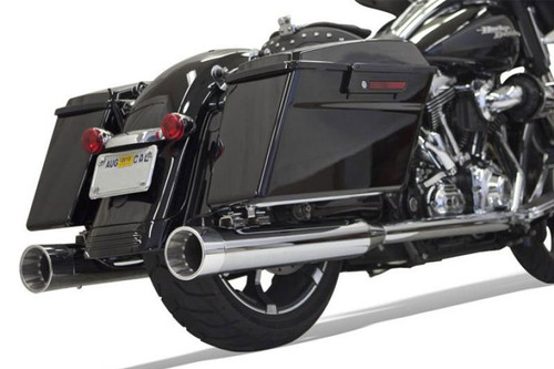 """Bassani 4"""" DNT Straight Can Mufflers with Acoustically Tuned Baffles for '95-16 FL Models -Chrome with Chrome End Caps"""