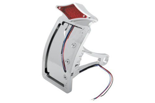 """Drag Specialties Side Mount LED Taillight/License Plate Mounts for '00-07 Softail -Axle Mount (¾""""-1""""), Curved Vertical, Diamond"""