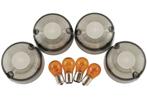 Biker's Choice Smoked Turn Signal Lens Kits '86-99 FXST; '86-01 XL, FXD,FXR HD#69306-02