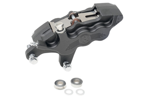 """Performance Machine Six-Piston Front Calipers for Certain H-D Models Starting in '00 for use with 11.5"""" Rotors (112 x 6B calipers) -Black Ops, Left Caliper"""