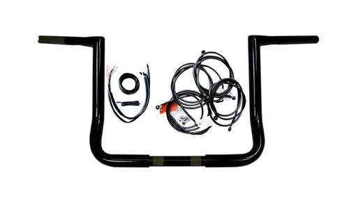 L.A. Choppers 12 inch Ape Hanger Handlebar Kit for '14-15 Harley Davidson FLHT, FLHX w/ ABS -Black