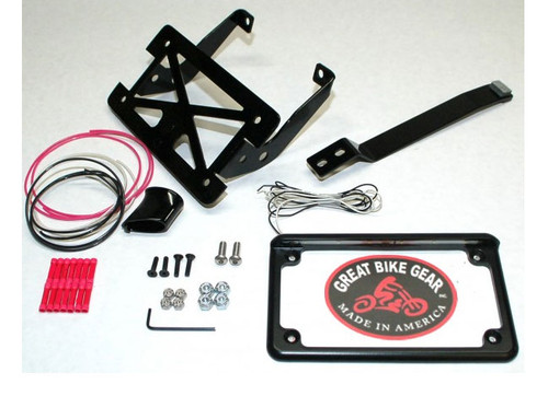Easy Brackets Turn Signal and License Plate Relocation Kit  for '11-16 FXS Blackline  and '12-16 FLS Softail Slim -Gloss Black