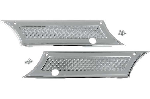 Chrome Diamond Cut Saddlebag Latch Covers