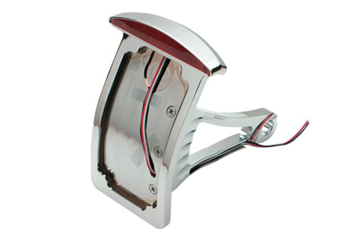 """Drag Specialties Side Mount LED Taillight/License Plate Mounts for '00-07 Softail -Axle Mount (¾""""-1""""), Curved Vertical, Half-Moon"""