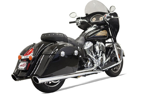 Bassani 4-inch Slip On Mufflers for '14-Up Indian Challenger, Chieftain, Roadmaster & Springfield - Chrome