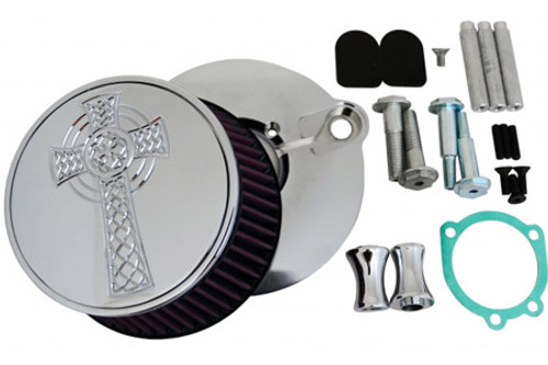 L.A. Choppers Celtic Cross Air Cleaner for '91-Up XL -Chrome