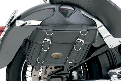 All American Rider Box-Style Slant Slant Saddlebags w/ Rear Pocket -Plain, Large