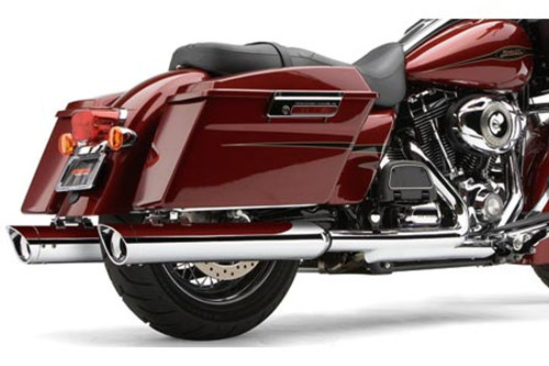 Cobra 4 Inch  Slip-On  Mufflers w/ Billet Tips for '95-16 H-D Touring Models -Scallop Cut