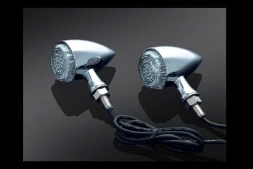Kuryakyn Torpedo Lights, Run-Turn-Brake, Chrome (pr)  Fits: Universal 12v Applications.  Mounts with M10-1.5 x 25mm Mounting Stud