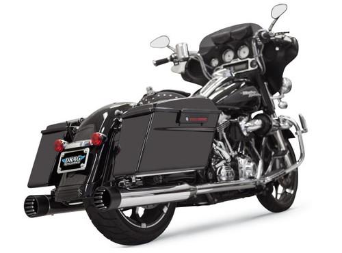 Bassani 4 inch DNT Slip On Mufflers for '95-16 Harley Davidson Touring Models - Chrome w/ Black End Cap