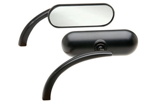 Arlen Ness  Mini Oval Micro Mirror in Flat Black  -Right Side Only