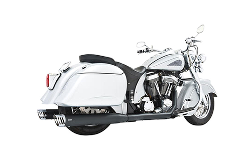 Freedom Performance Exhaust Dual System w/ 4 inch Racing Mufflers for Indian Chief Deluxe/Roadmaster/Standard & Vintage '09-13 -Black